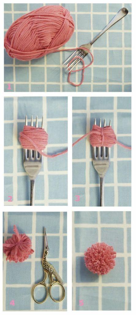 помпон с помощью вилки