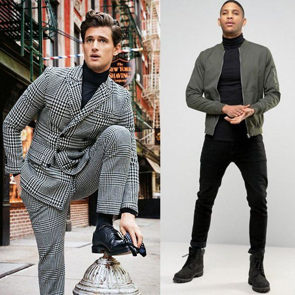 как носить чёрную мужскую водолазку