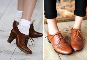 коричневые туфли женские с чем носить