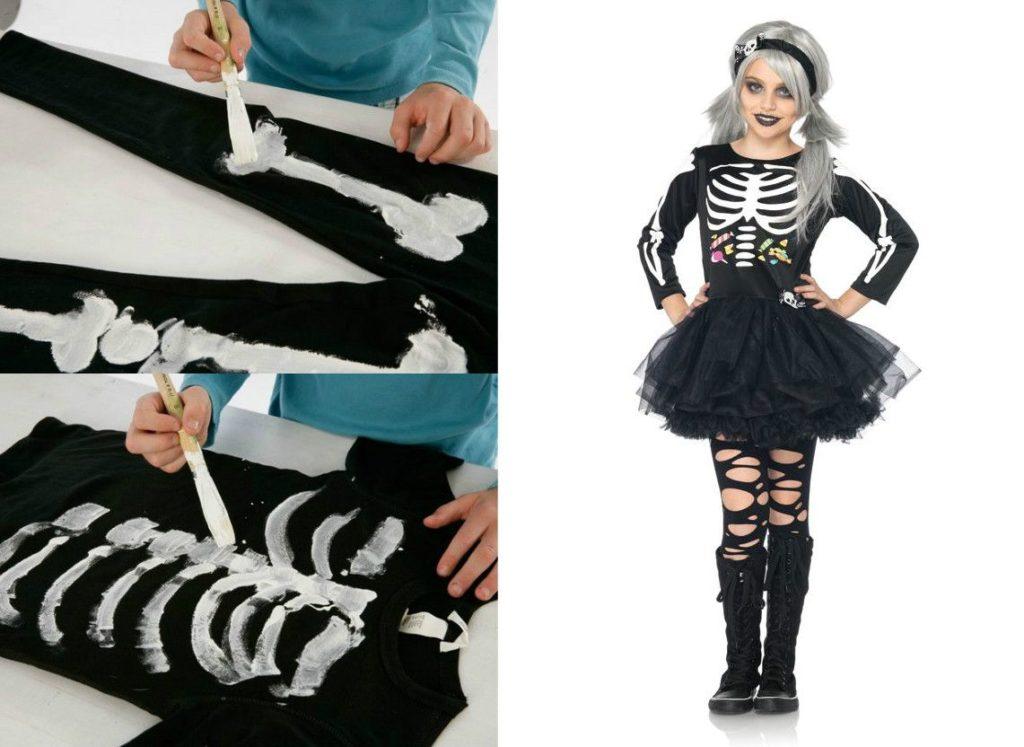 рисование костюма скелета на одежде