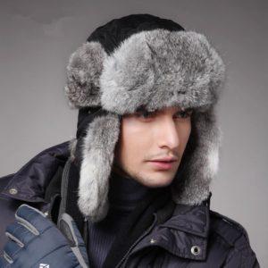 Замшевая мужская шапка с меховыми отворотами