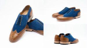 Сине-коричневые мужские туфли