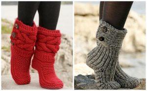 Вязаные красные и серые носки с пуговицами