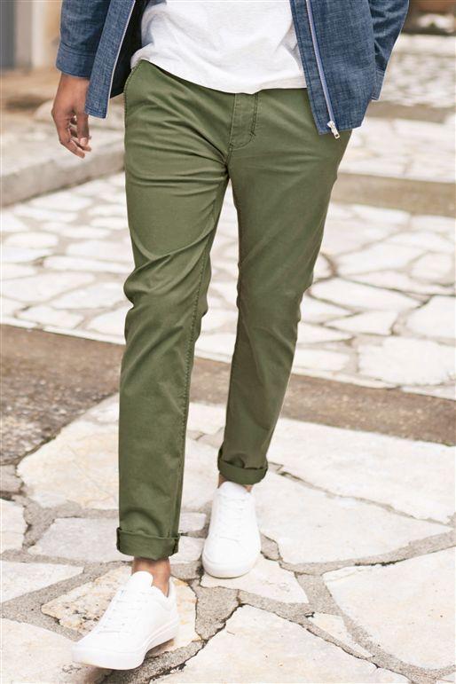 мужские зелёные чиносы