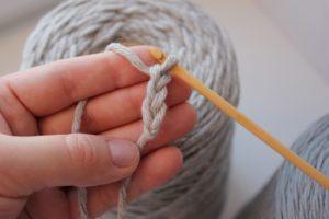 Вяжем сначала цепочку петель крючком