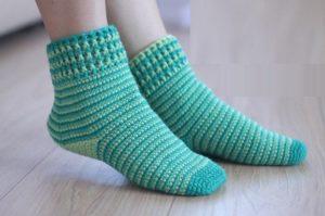 вязание крючком носки для начинающих