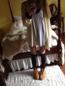 тимберленды с платьем
