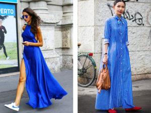 образы с длинным синим платьем