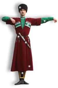 Мужской осетинский костюм бордового цвета