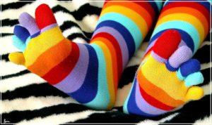 Пальчиковые носки полосатые
