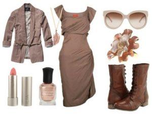 платье и короткие сапожки