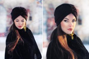 платок на головку зимой