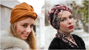 платок зимой на голову тюрбан