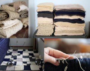 плед из вязаных свитеров