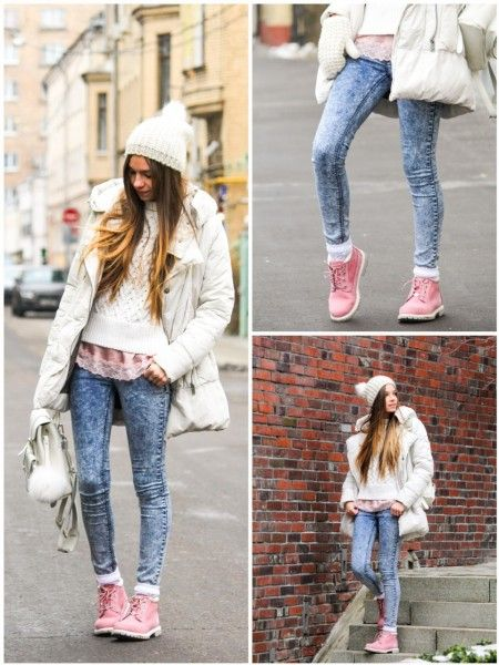розовые тимберленды с джинсами