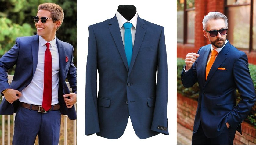 галстук под синий костюм