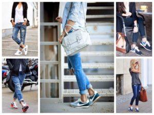 массивные кроссовки с джинсами