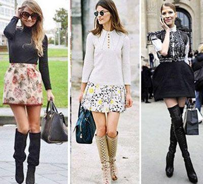 Высокие сапоги с юбками