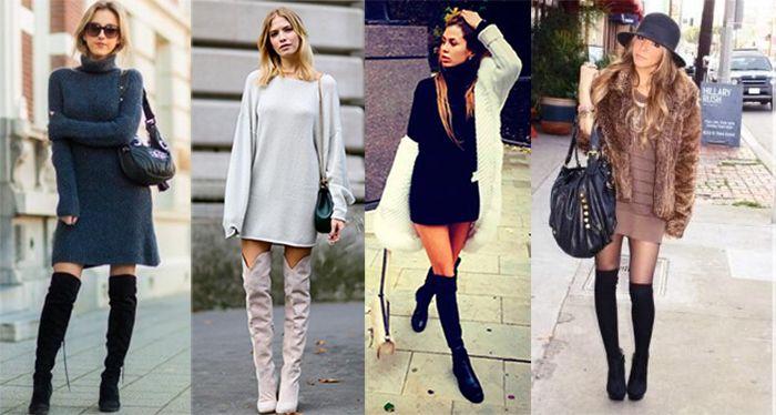 Высокие сапоги с платьями