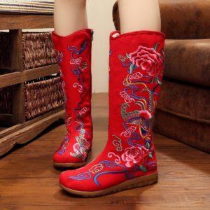 Красные сапоги без каблуков
