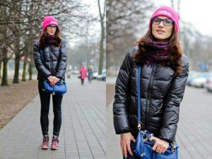 розовая шапка с черной курткой
