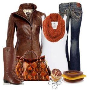 коричневые сапоги с курткой