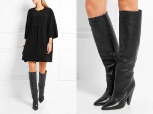 черные сапоги с широким голенищем под платье