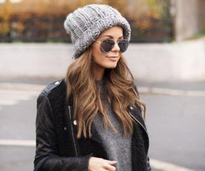 шапка бини и кожаная куртка