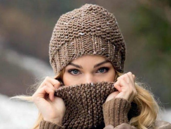 Коричневая шапка женская