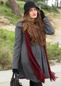 шляпа клош с серым пальто