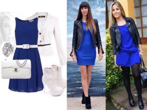 синее платье и верхняя одежда