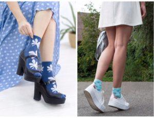 синие женские носки