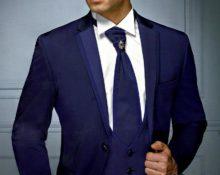 синий костюм мужской с чем носить