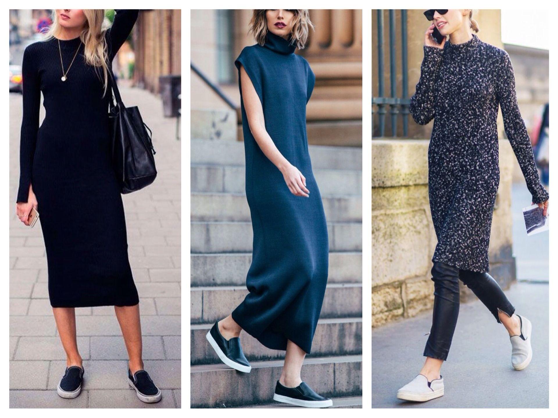 Слипоны с темным платьем