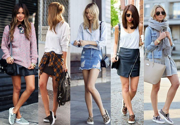 Слипоны с мини-юбками