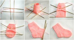 6 этапов вязания носков 5 спицами