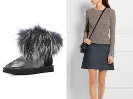 угги с мехом и юбка
