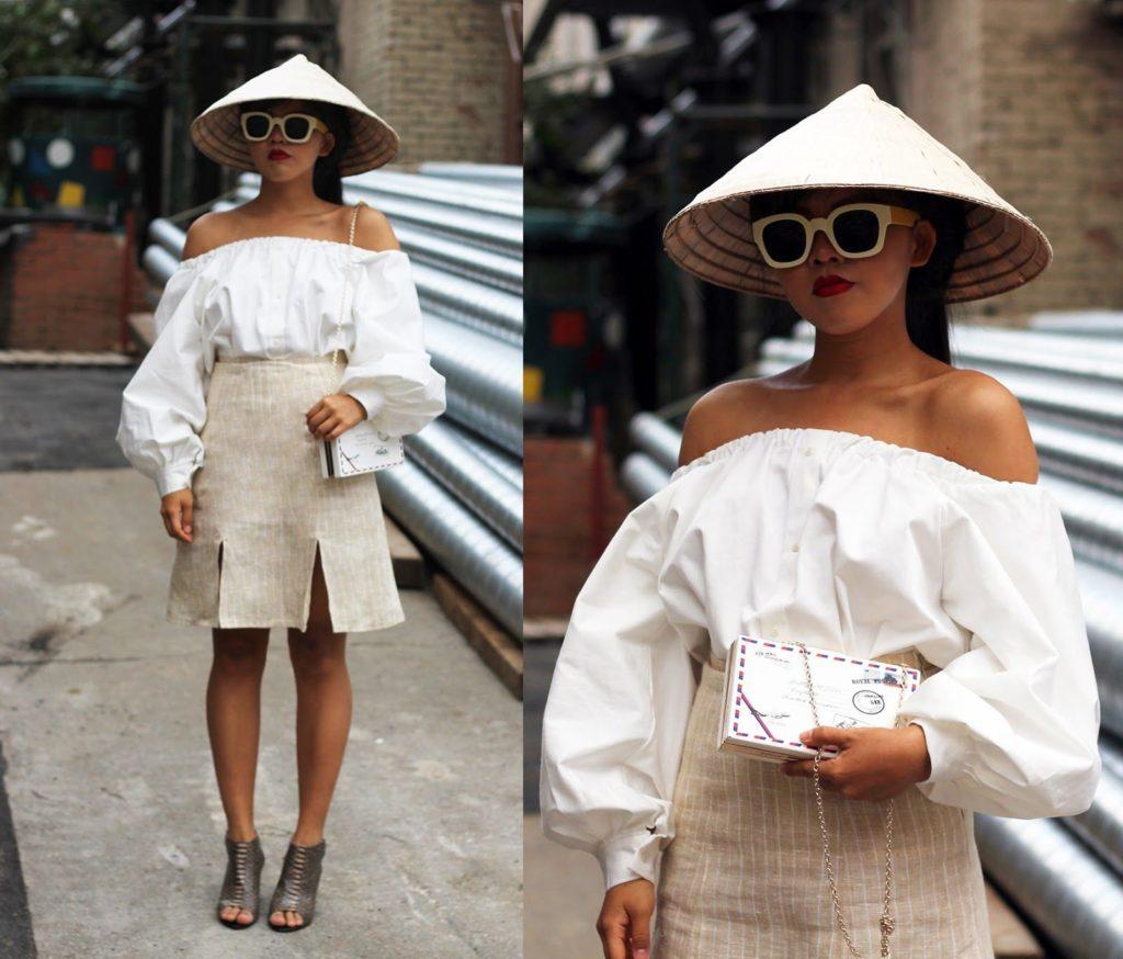 Вьетнамская шляпа на современной девушке