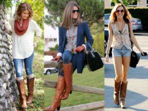 высокие сапоги и джинсы