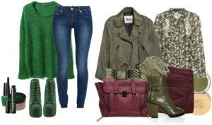 комплект одежды с зелеными ботильонами