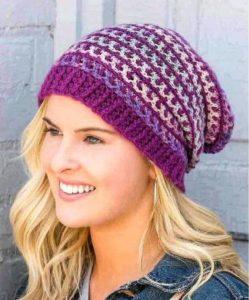 шапка крючком женская