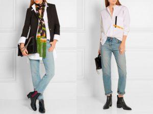 женские ботинки цвета хаки и джинсы