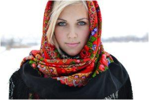 зимний платок на голову
