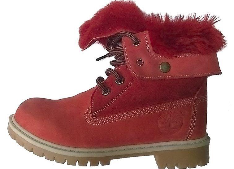 Красные сапоги Тимберленд на меху