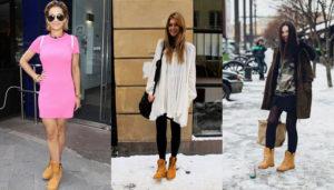 знаменитости в женских ботинках тимберленд