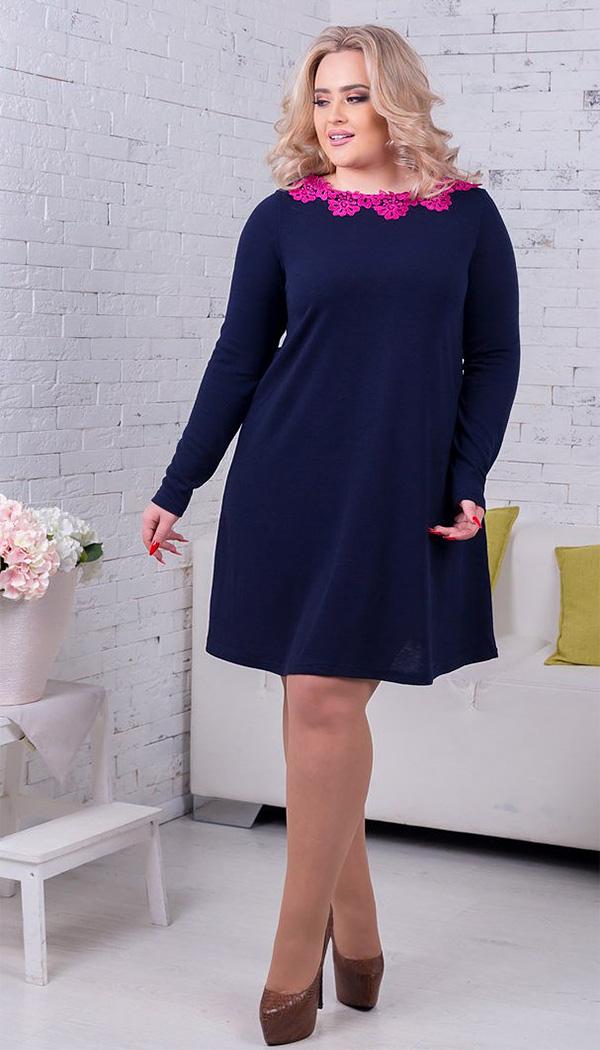 синее платье для полной