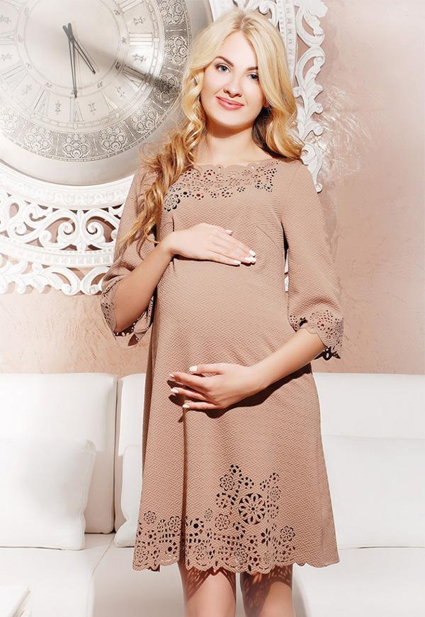 бежевое платье для беременной
