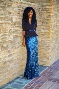 С чем одеть длинную синюю юбку