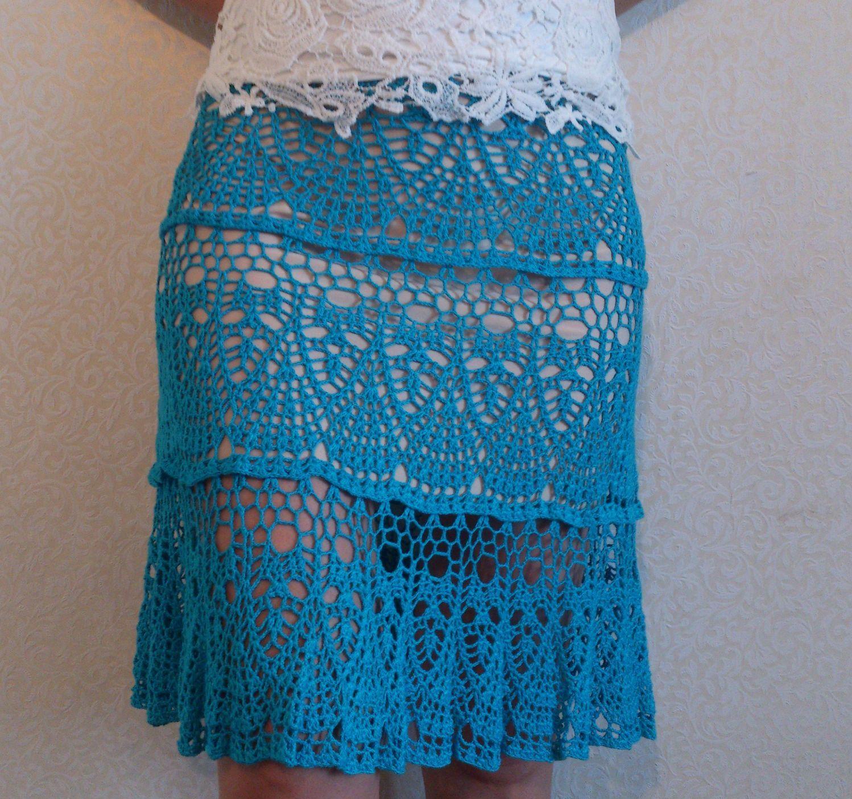 Ажурная голубая юбка