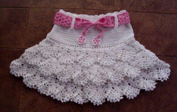 Ажурная белая короткая юбка
